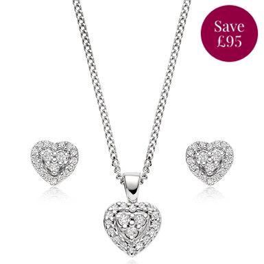 9ct White Gold Diamond Heart Pendant and Earrings Set