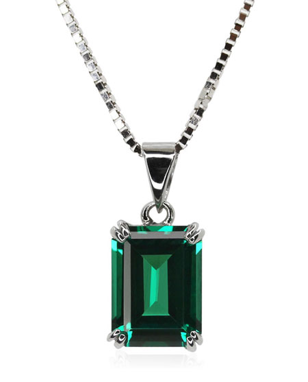 9ct White Gold Emerald Cut Pendant