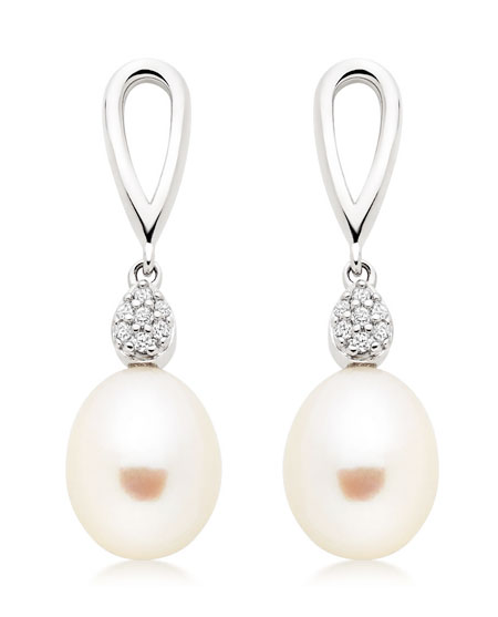 Silver Freshwater Pearl Cubic Zirconia Drop Earrings