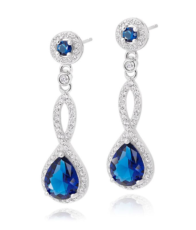 Silver Blue Cubic Zirconia Drop Earrings