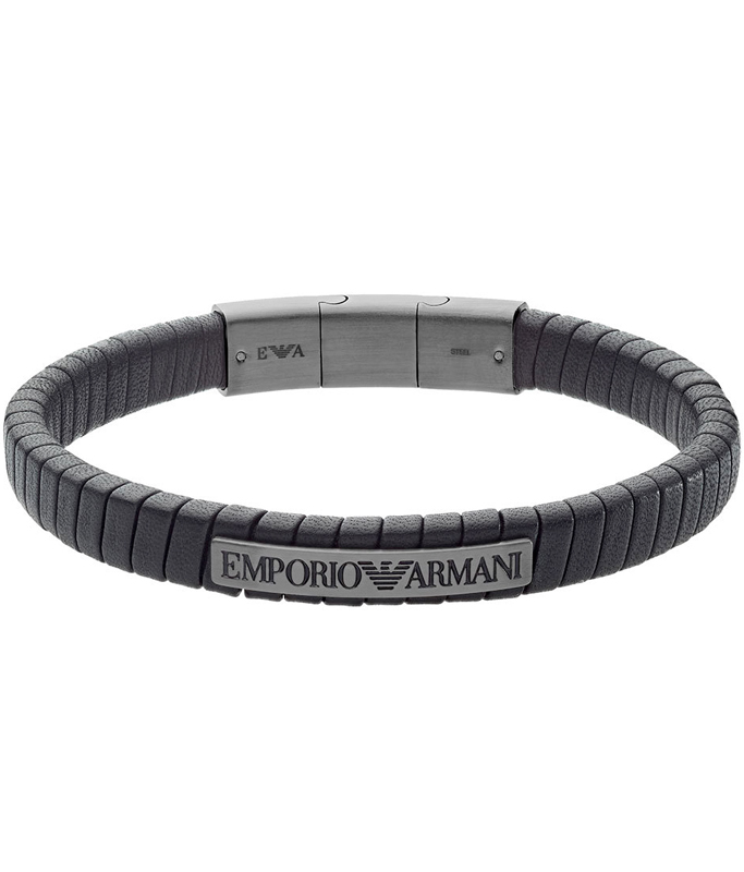 Emporio Armani Black Leather Men's Bracelet