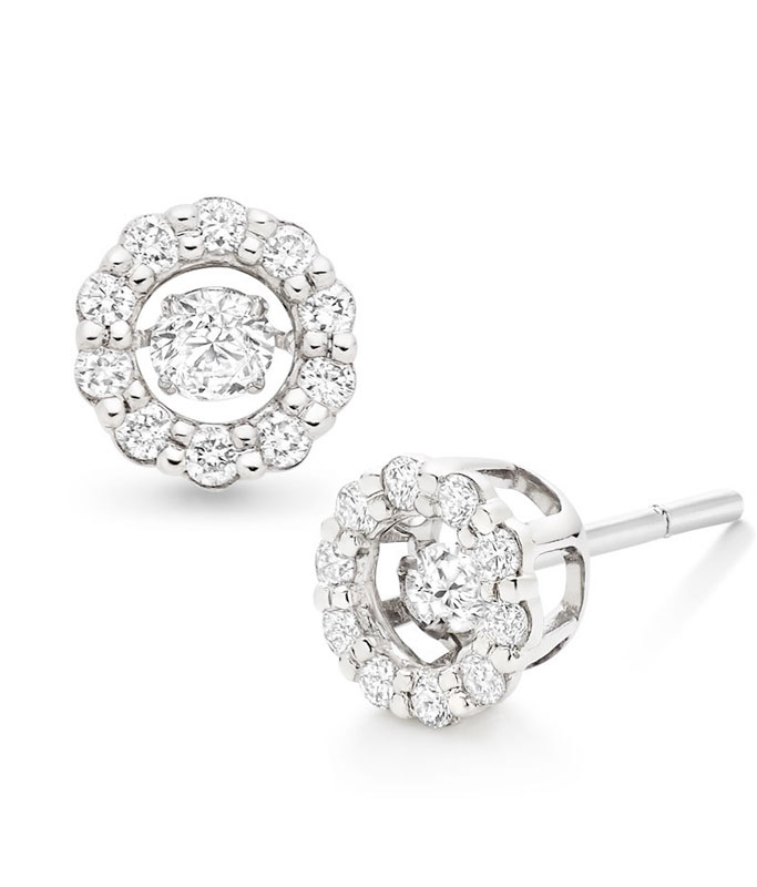 Dance 9ct White Gold Diamond Earrings