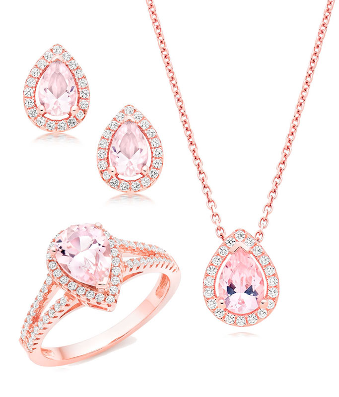 Silver Rose Gold Plated Synthetic Morganite and Cubic Zirconia Set