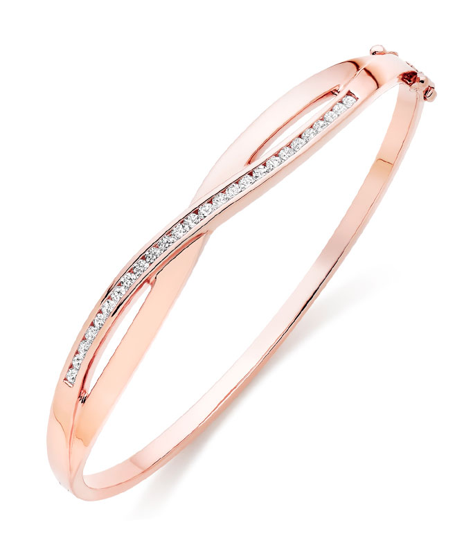 Silver Rose Gold Plated Cubic Zirconia Bangle