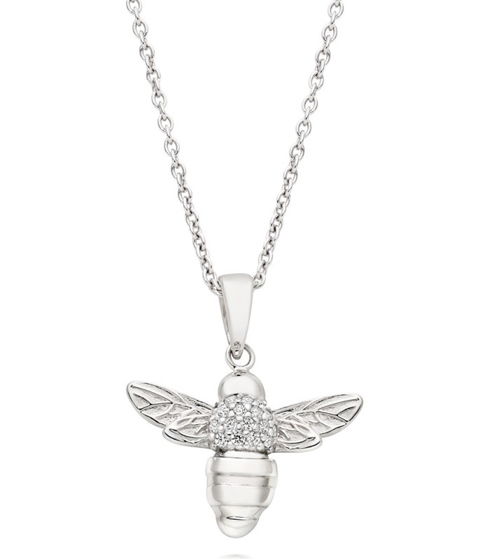 Summer Paradise Silver Cubic Zirconia Bee Pendant