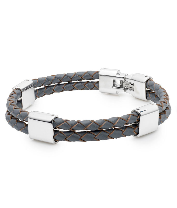 Grey Leather and Stainless Steel Men's Bracelet