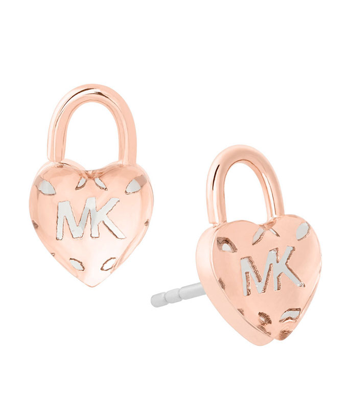 Michael Kors Rose Gold Tone Love Logo Stud Earrings
