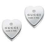 Gucci Trademark Silver Heart Stud Earrings