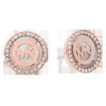 Michael Kors Monogram Rose Gold Tone Cubic Zirconia Earrings
