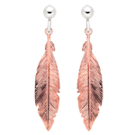 Silver Rose Gold Plated Feather Drop Earrings