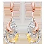 Beaverbrooks Era Enchant 9ct White, Rose and Yellow Gold Diamond Earrings
