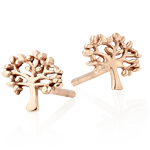 Silver Rose Gold Plated Tree Stud Earrings