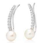 Silver Cubic Zirconia Freshwater Pearl Climber Earrings