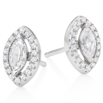Silver Cubic Zirconia Marquise Halo Stud Earrings