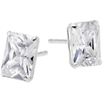 9ct White Gold Cubic Zirconia Emerald Cut Stud Earrings