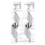 9ct White Gold Glitter Swirl Drop Earrings