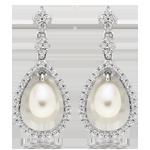 Silver Cubic Zirconia Freshwater Pearl Drop Earrings