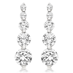 9ct White Gold Plated Cubic Zirconia Drop Earrings