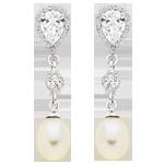 Silver Freshwater Cultured Pearl Cubic Zirconia Drop Earrings