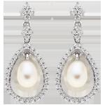 Silver Cubic Zirconia Fresh Water Pearl Drop Earrings