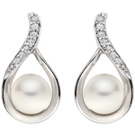 9ct White Gold Diamond and Freshwater Cultured Pearl Earrings