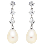 9ct White Gold Fresh Water Pearl Cubic Zirconia Earrings