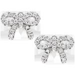 Silver Cubic Zirconia Bow Stud Earrings