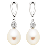 Silver Freshwater Pearl Cubic Zirconia Drop Earrings