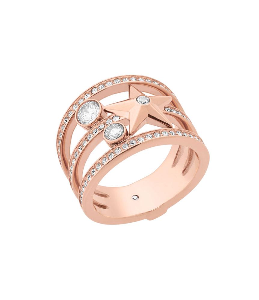 Michael Kors Celestial Rose Gold Tone Cubic Zirconia Ring
