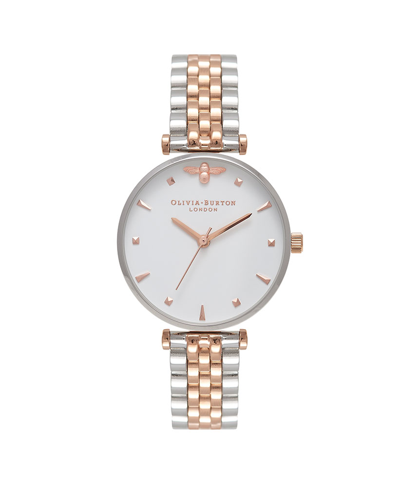 Olivia Burton Queen Bee Silver & Rose Gold Plated Ladies Watch