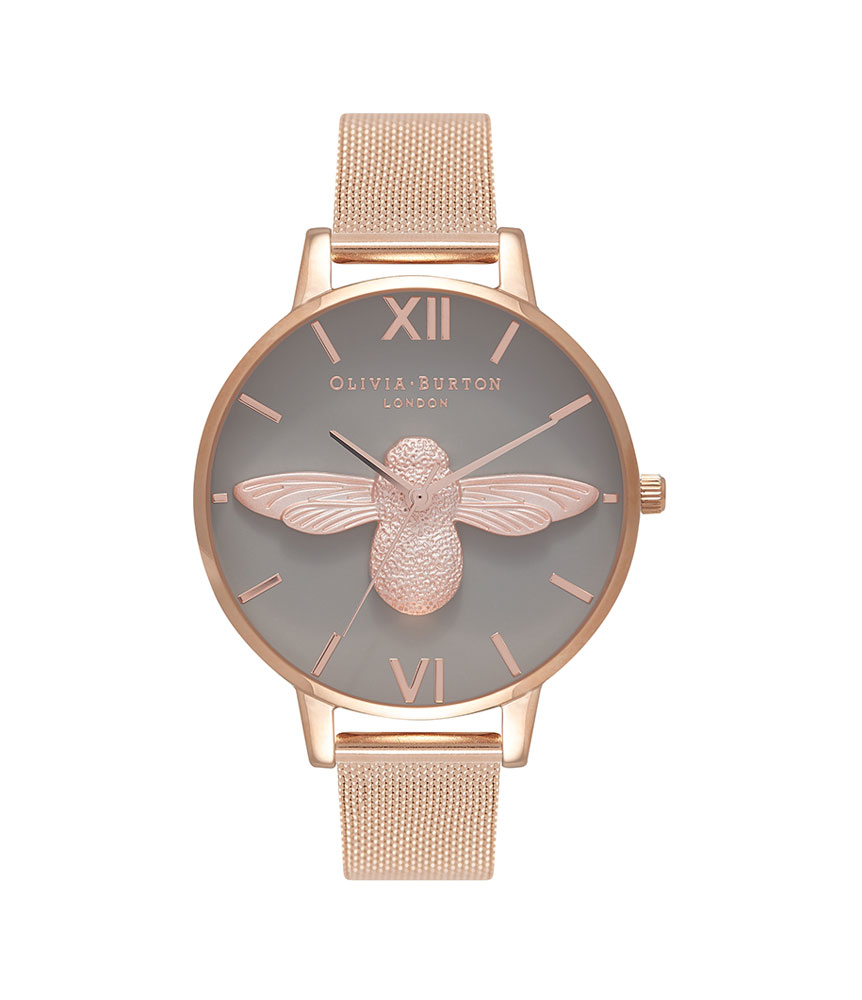 Olivia Burton 3D Bee Rose Gold Plated Ladies Watch