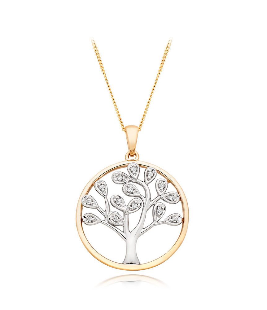 9ct Gold and White Gold Diamond Tree Pendant