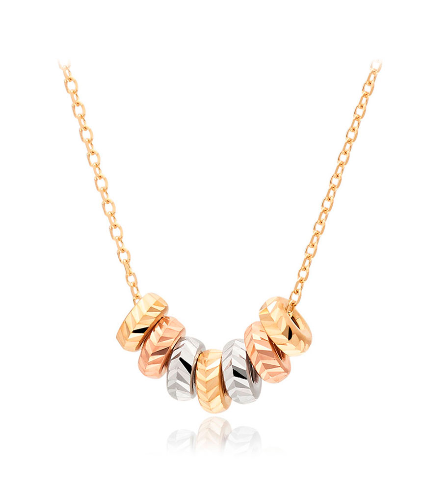 9ct Gold, Rose Gold and White Gold Ball Necklace