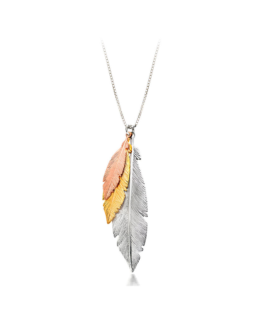 Silver, Rose Gold Plated and Gold Plated Feather Necklace