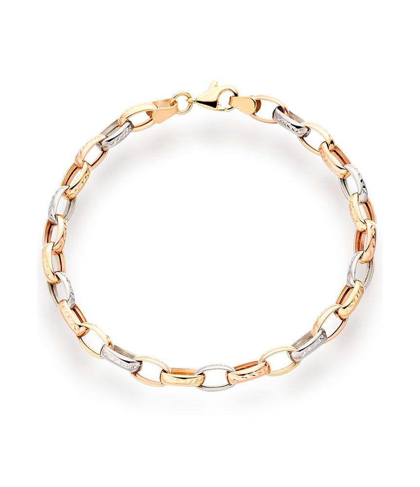 9ct Gold, Rose Gold and White Gold Bracelet