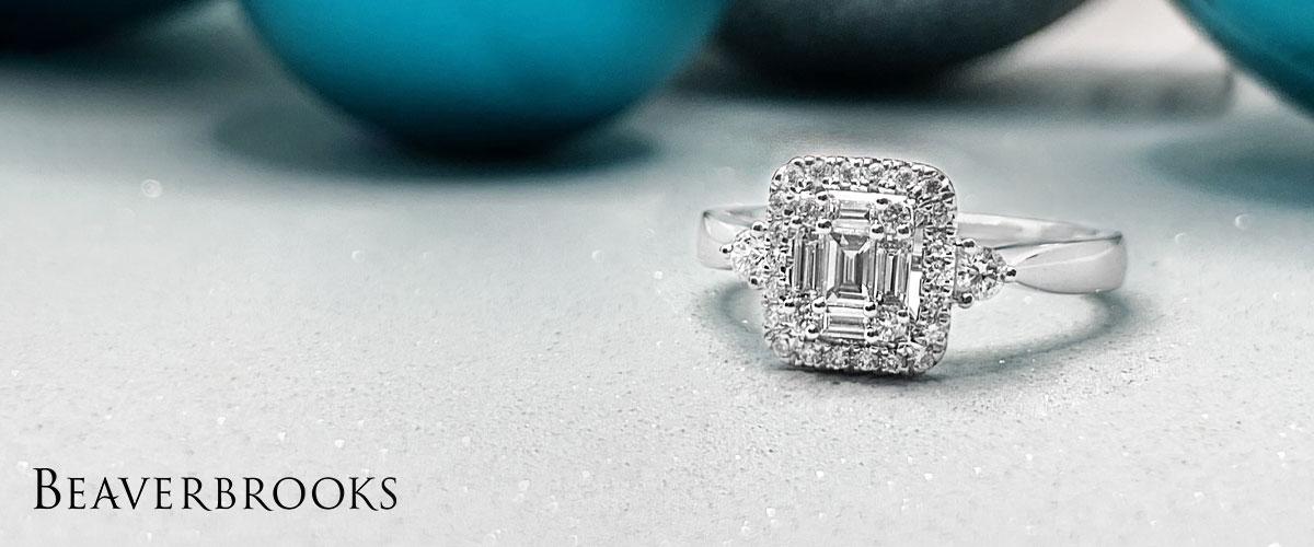 18ct White Gold Diamond Cluster Three Stone Ring