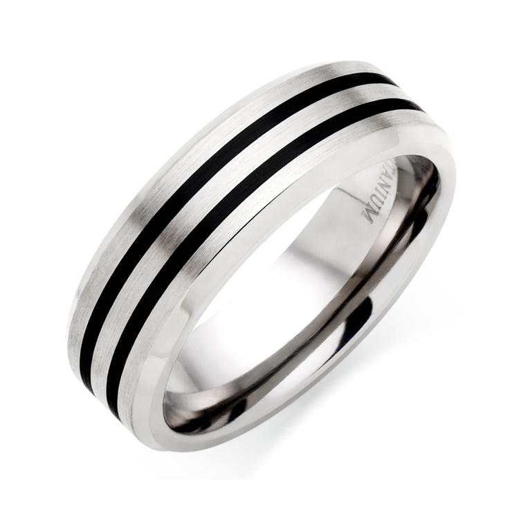 Men's Titanium and Black Rhodium Ring