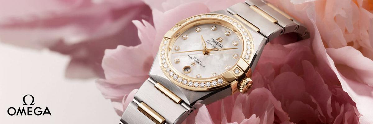 OMEGA Constellation Manhattan Steel and 18ct Gold Automatic Diamond Ladies Watch