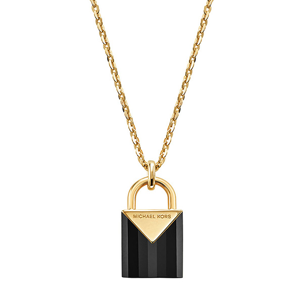 Michael Kors Kors Colour Gold Plated Silver Black Onyx Padlock Pendant