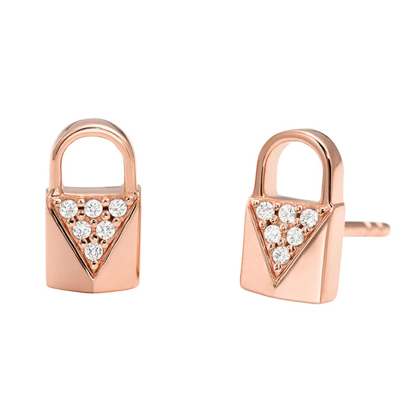 Michael Kors Mercer Link Rose Gold Plated Silver Cubic Zirconia Padlock Stud Earrings