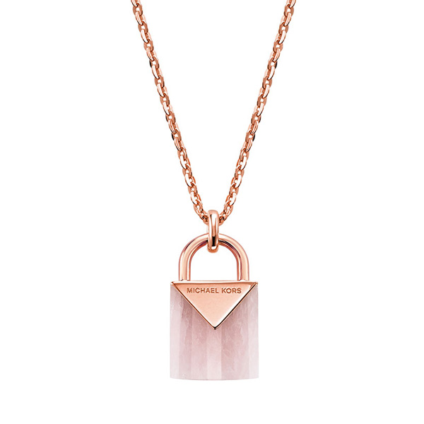 Michael Kors Kors Colour Rose Gold Plated Silver Rose Quartz Pendant