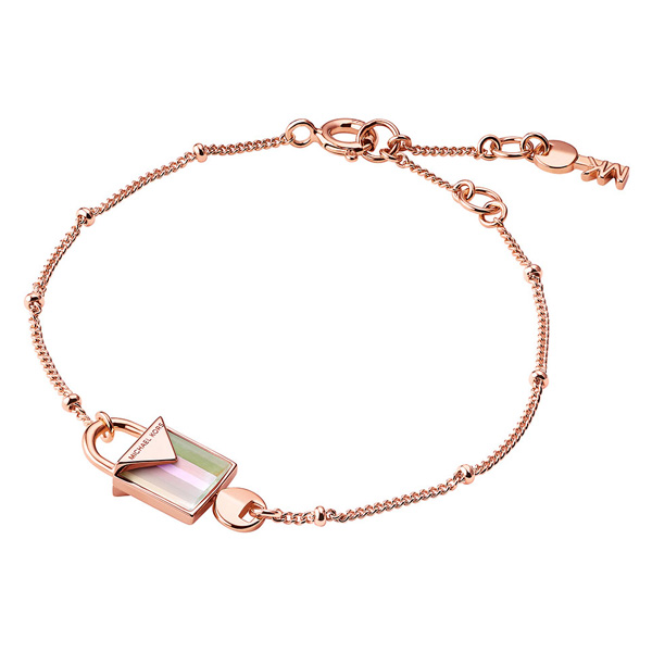 Michael Kors Kors Colour Rose Gold Plated Rose Quartz Padlock Bracelet