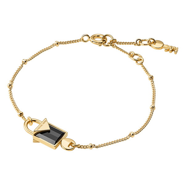 Michael Kors Kors Colour Gold Plated Silver Black Onyx Padlock Bracelet