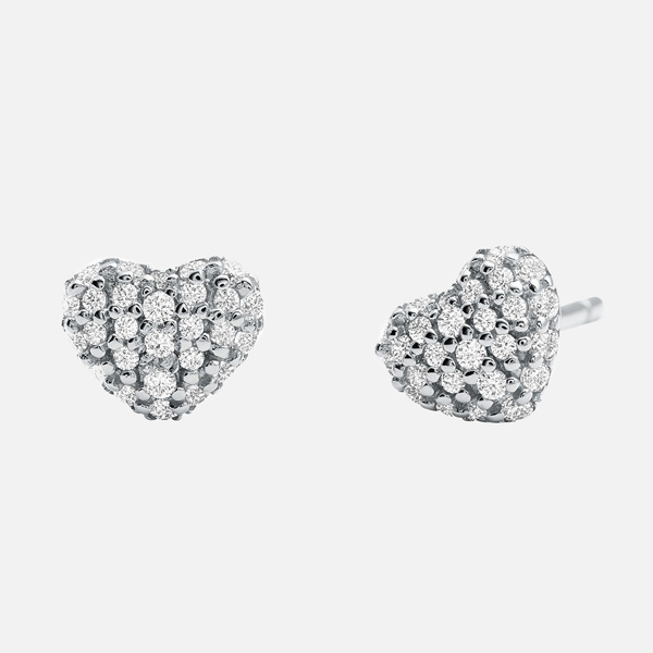 Michael Kors Silver Cubic Zirconia Heart Earrings