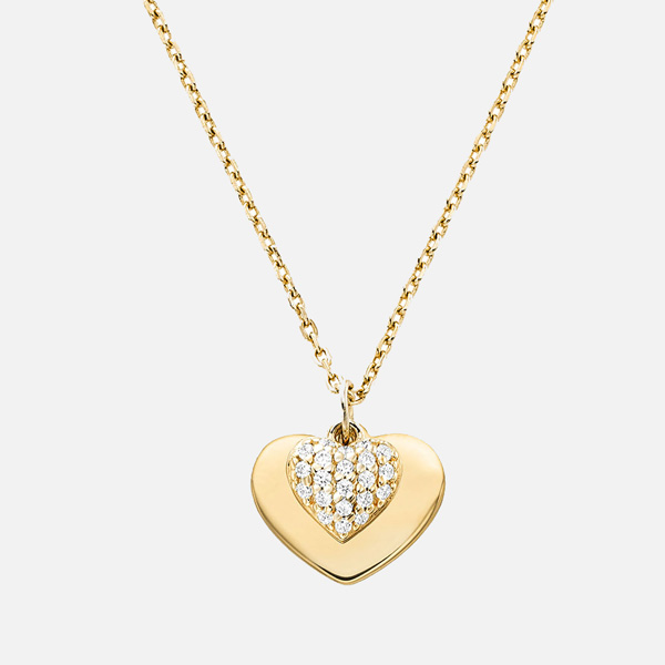 Michael Kors Love Gold Plated Silver Cubic Zirconia Heart Pendant