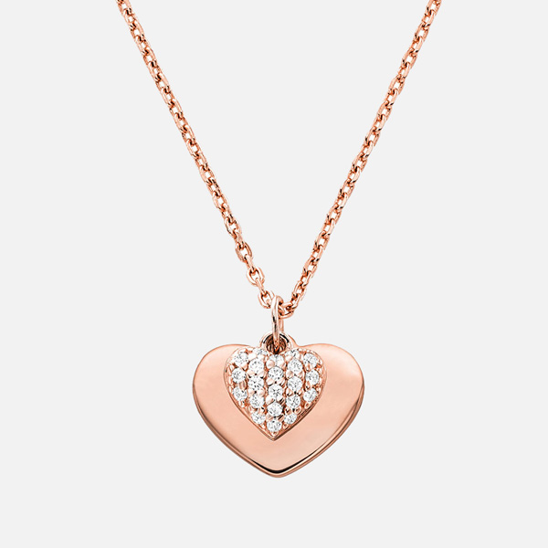 Michael Kors Love Rose Gold Plated Silver Cubic Zirconia Heart Pendant