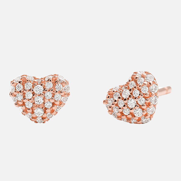 Michael Kors Rose Gold Plated Silver Cubic Zirconia Heart Earrings