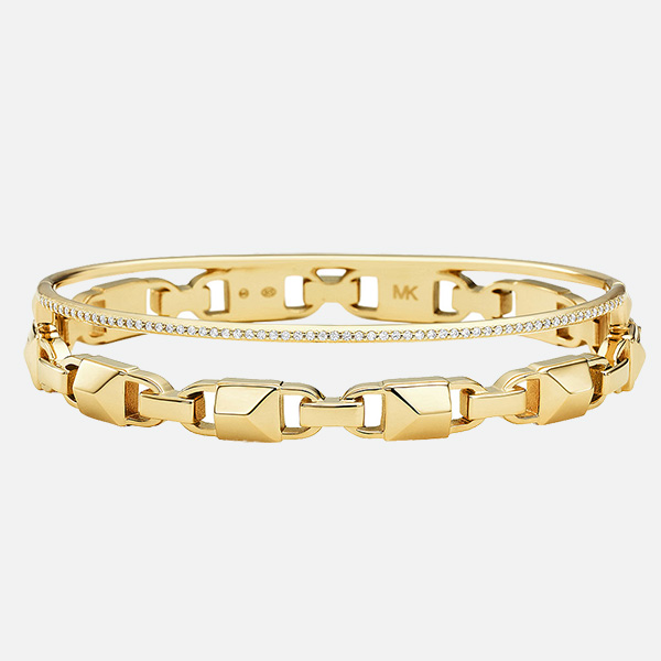 Michael Kors Mercer Link Gold Plated Silver Cubic Zirconia Bangle