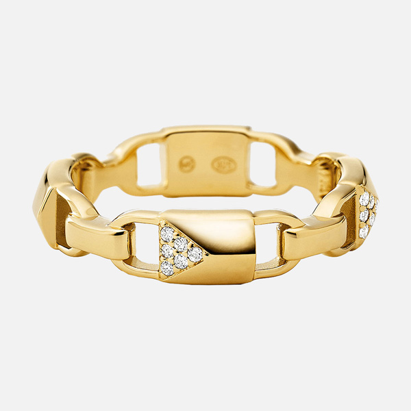 Michael Kors Mercer Link Gold Plated Silver Cubic Zirconia Ring