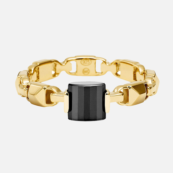 Michael Kors Mercer Link Gold Plated Silver Black Onyx Ring